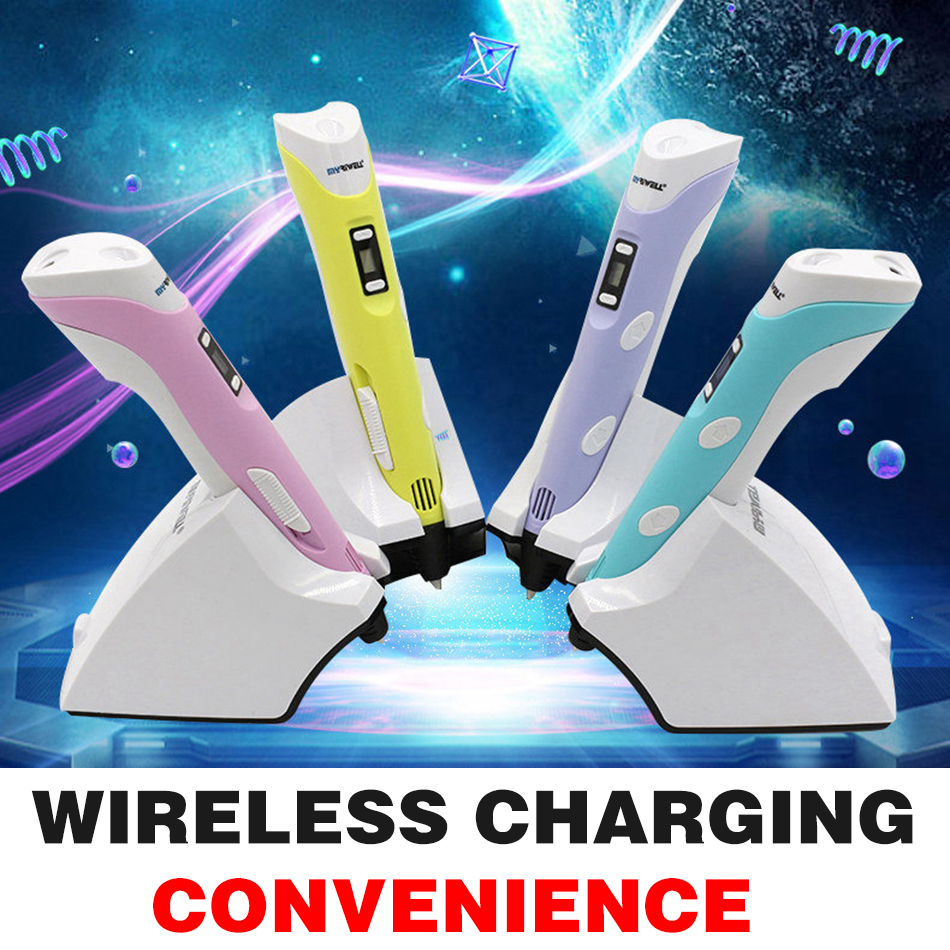 NEW First Generation Wireless charging DIY 3D Printer Pen For Kids With PLA ABS Filament 1.75mm Free Shipping