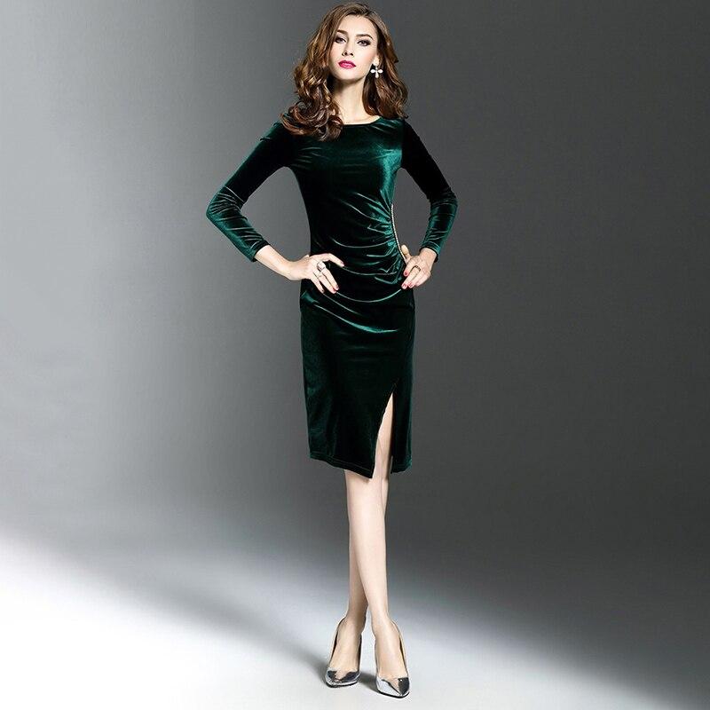 0224088b22c0 Bigsweety vestido de terciopelo Vintage nuevo Otoño de manga larga ...