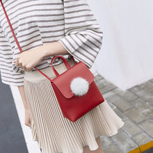 Fashion Japan Korea New Women Bags Mini Casual Party Shoulder Messenger Bag Elegant Pompoms Girl Mobile Phone Small Package Gift(China)