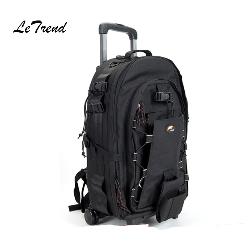 LeTrend Shoulders Travel bag Trolley Photography Backpack High Capacity Rolling Luggage Shockproof Large Cabin Suitcase Wheels universal uheels trolley travel suitcase double shoulder backpack bag with rolling multilayer school bag commercial luggage