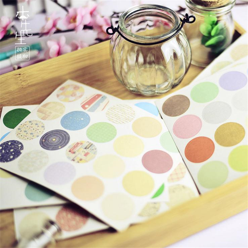 Student 160 Pcs/lot DIY Kawaii Round Stickers Cute Dot Grid Stripe Sticky Paper For Home Decoration Scrapbooking 5545