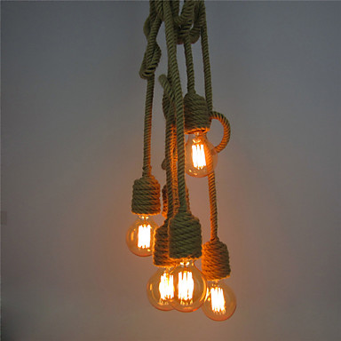 6 Heads American Retro Loft Industrial Pendant Light Fixtures Bar Caffe Edison Style Vintage Hemp Rope Lamp Lampara Colgante american edison loft style rope retro pendant light fixtures for dining room iron hanging lamp vintage industrial lighting