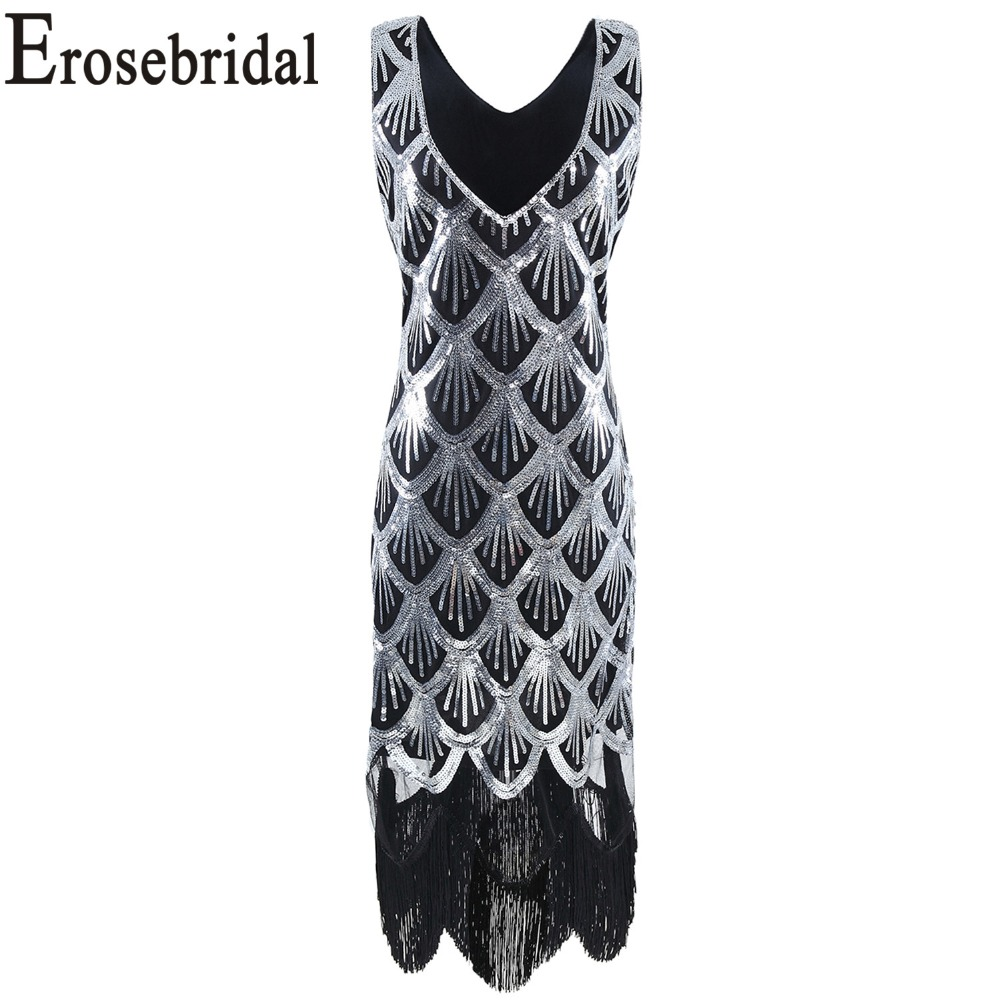 Erosebridal Sexy Sliver Mermaid   Cocktail     Dresses   2019 New Design Real Image Short Formal Women Party Gown Tassel Buttom