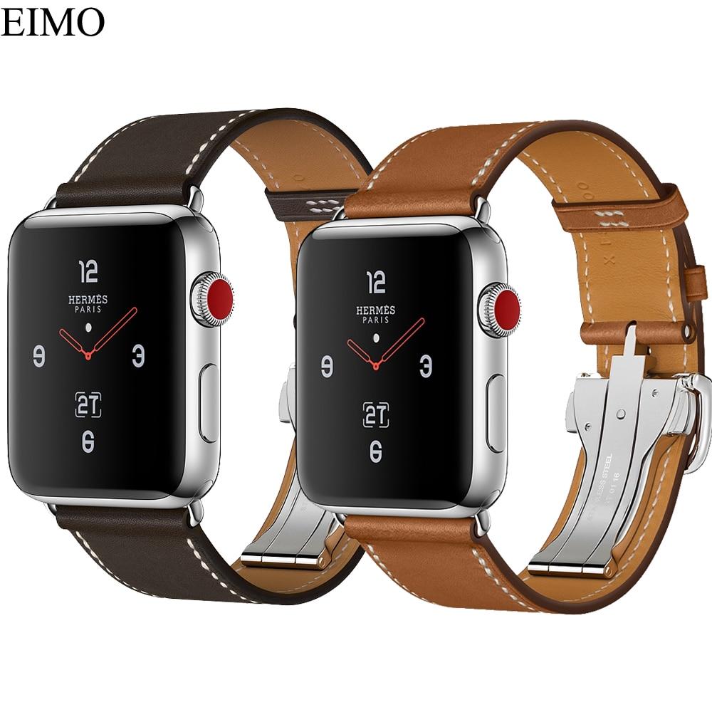 купить EIMO Single Tour Deployment Buckle Strap For Apple watch band 42mm/38mm iwatch 3/2/1 Fauve Barenia Leather Bracelet for Hermes по цене 1232.25 рублей