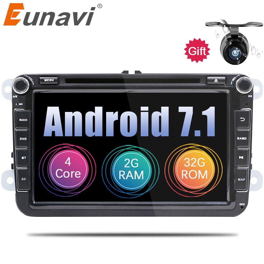 Eunavi 2 Din Android 7.1 8.1 vw voiture dvd pour Polo Jetta Tiguan VW passat b6 cc fabia miroir lien bluetooth wifi Radio au tableau de bord