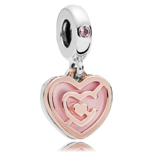 Original 925 Sterling Silver Bead Charm Pink Enamel Follow Your Heart Rose Path To Love Pendant Fit Pandora Bracelet Diy JewelryOriginal 925 Sterling Silver Bead Charm Pink Enamel Follow Your Heart Rose Path To Love Pendant Fit Pandora Bracelet Diy Jewelry