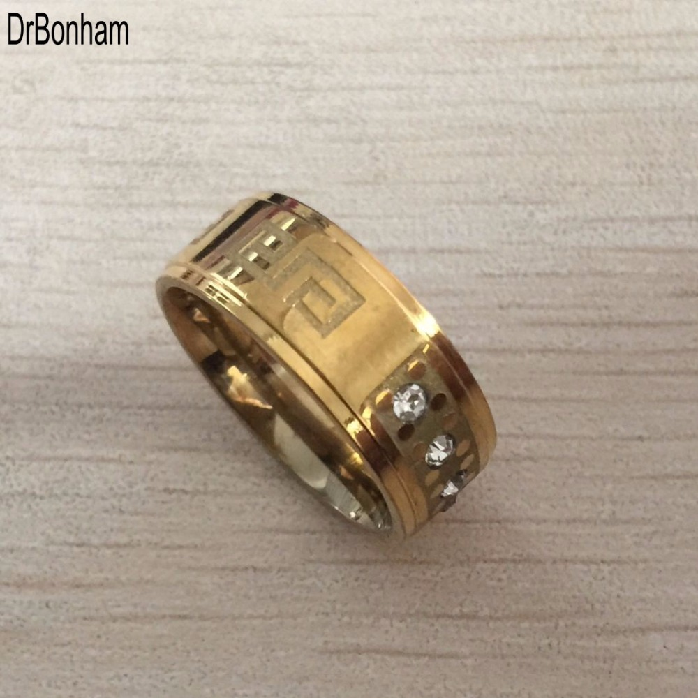 2017 New High Quality Wide 8mm 316 Titanium Steel Yellow Gold Color Greek  Key Wedding Band Crystal Ring Men Women