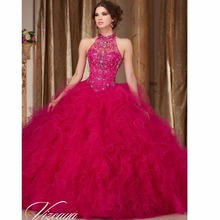 Stunning High Neck Fuchsia Quinceanera Dresses Beaded Crystal Ball Gown Sweet 16 Prom Dresses Cheap Quinceanera Gowns QS16