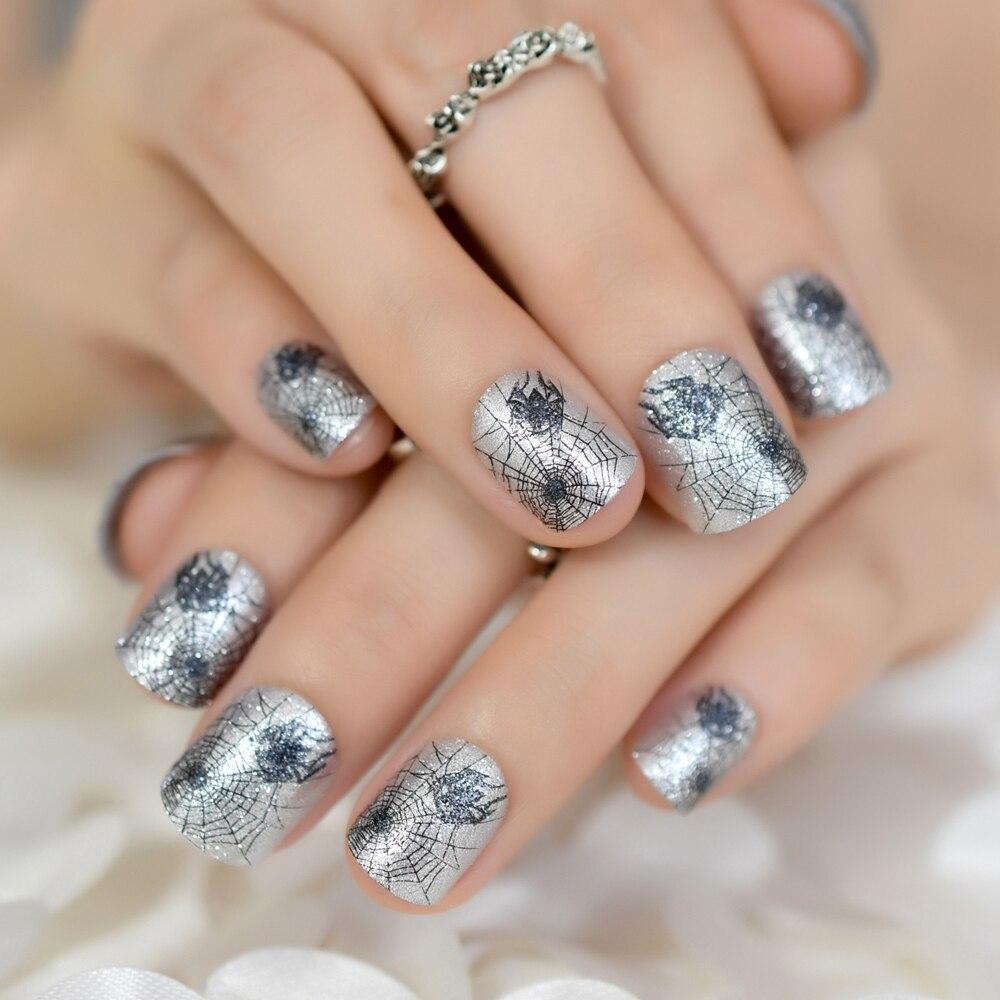 Grey Glitter Short Full Nail Tip Cobweb Design Artficial ...