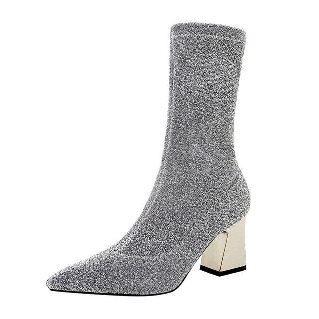 = New Mùa Thu Châu Âu Cao Gót Giày Sexy Dày Gót Bơm Sequin Nhọn Toe Shiny Giữa Bắp Chân của Phụ Nữ Khởi Động thời trang khởi động