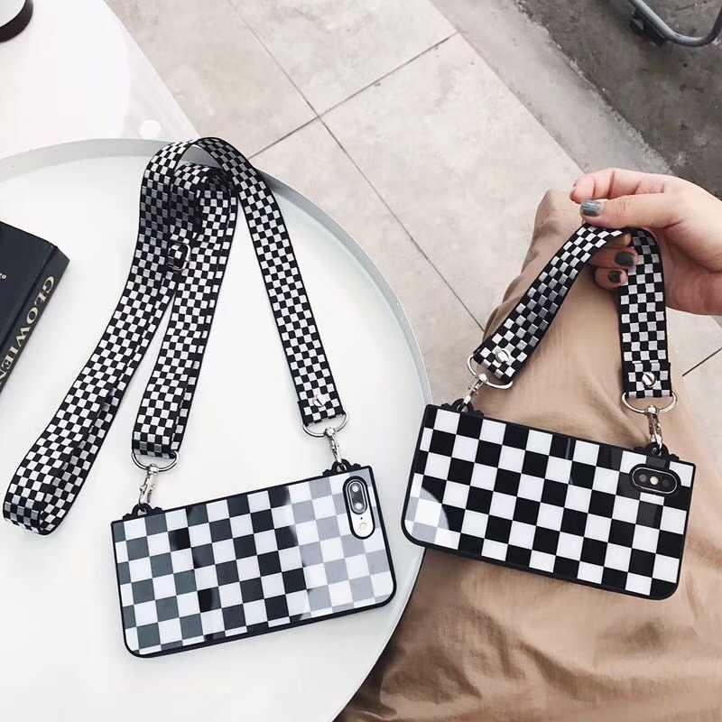 Dawer Me элегантные модные ретро женские сумки черную клетку мягкий чехол с ручной цепочкой для Iphone XS Max XR X 8 7 6 6 S Plus