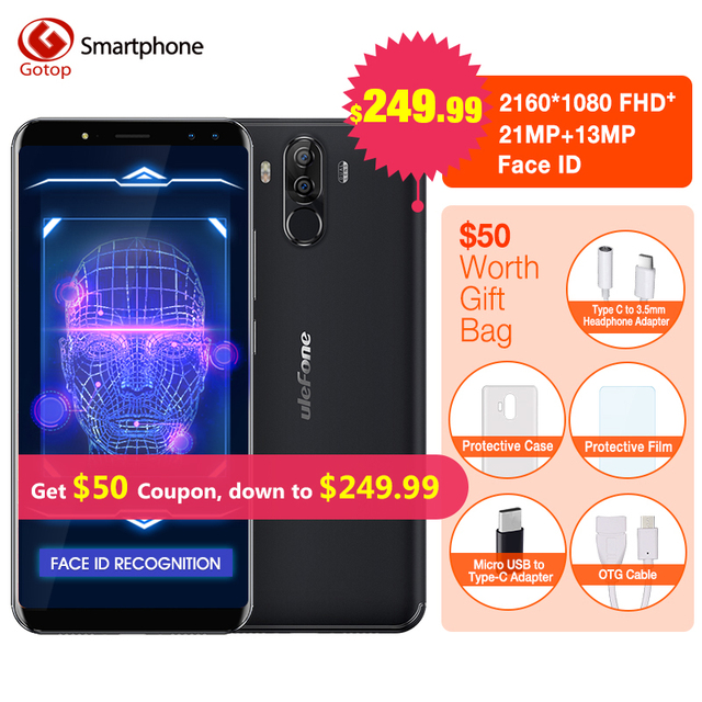 """Ulefone Power 3 MT6763 Octa Core Cell Phone 6.0"""" Android 7.1 18:9 Face ID Smartphone 6GB RAM 64GB ROM Four Camera Mobile Phone"""