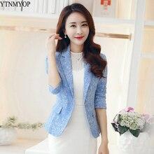 YTNMYOP женский жаккардовый Блейзер длинный рукав офисный костюм для дам пальто наряды зубчатый принт цветок весенний Блейзер одежда одна кнопка