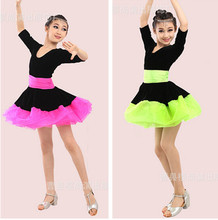 Hot sell winter half-sleeve rumba latin dance dress tango samba 110-170cm pink green professional girl child dress black costume