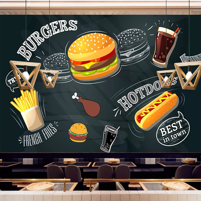 Us 1388 38 Offcustom 3d Photo Wallpaper Hand Painted Burger Hot Dog Coffee Drink Mural Restaurant Burger Shop Decoration Self Adhesive Sticker In