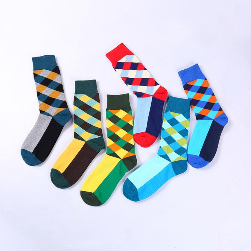 1Pair Men Funny happy Socks Boy Printed Plaid Mid Socks Autumn Winter Casual Sock Fashion