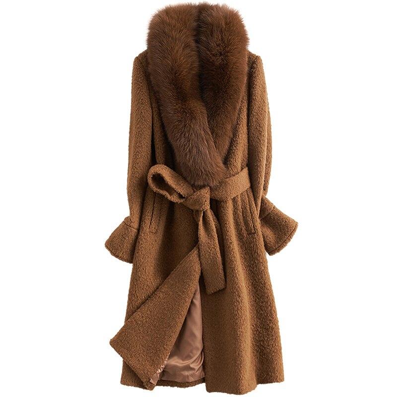 Manteau de laine Manteau D'hiver Femmes Vêtements 2018 Coréen Alpaga Décontracté Élégant Coupe Slim Col De Fourrure Manteau Long En Laine Casaco Feminino ZT696