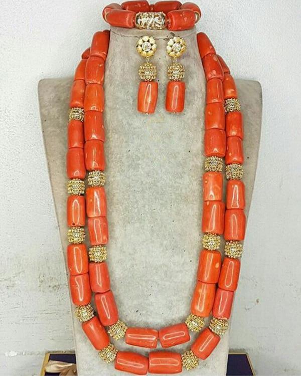 Perles de corail véritable qualité collier de mariée Bracelet boucles d'oreilles ensemble 24 pouces Long collier nigérian mariage perles de corail CNR716