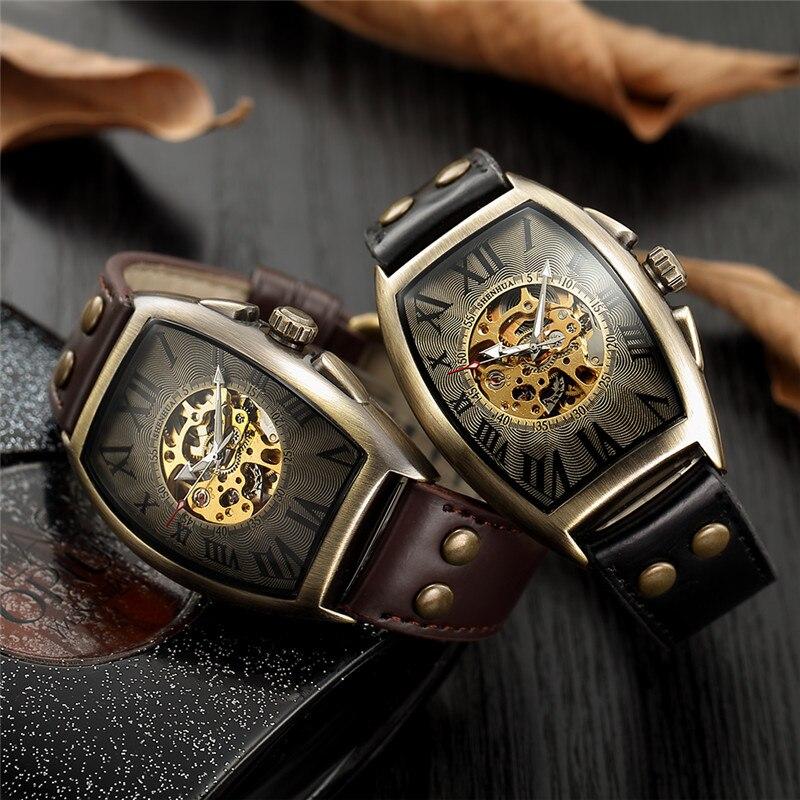 HTB12QXja8r0gK0jSZFnq6zRRXXac Men Watch Skeleton Automatic Mechanical Male Clock Top Brand Luxury Retro Bronze Sport Military Wristwatch relogio Masculino