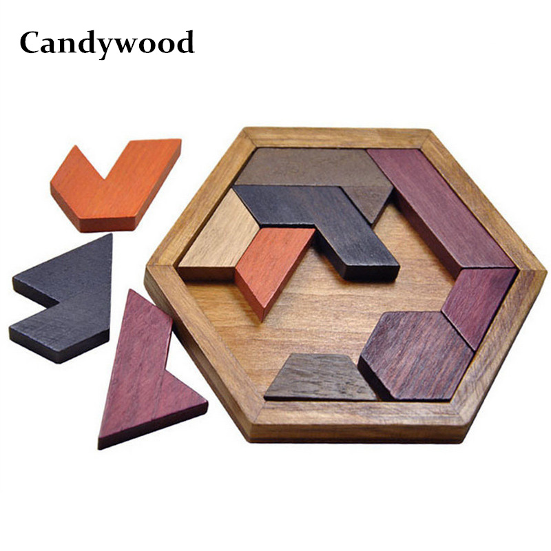 Montessori toys Creative Children Hexagonal Wooden Geometric Shape Jigsaw Puzzles Board Educational Intelligence Baby Kids Toys