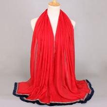 bd9773476928 Marque de luxe Femmes Coton Foulards Musulman Hijab De Mode Lady Filles  Solide Gland Écharpe Femme Foulards Wrap Châle Headhand .