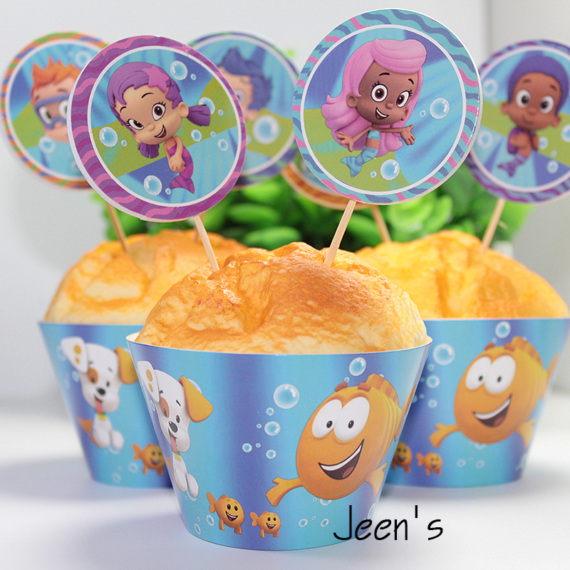 Awe Inspiring 12Sets Bubble Guppies Fish Paper Cupcake Wrappers And Toppers For Personalised Birthday Cards Veneteletsinfo