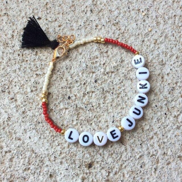 Bekannt Amour personnel bracelet mot perle de rocaille bracelet caractère  HS44