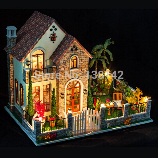 K007 Large Diy dollhouses miniatura Creative villa model Wooden Miniature Doll House Furniture Toys
