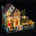 K007 grande Diy bonecas miniatura de casa modelo casa de boneca de madeira móveis brinquedos
