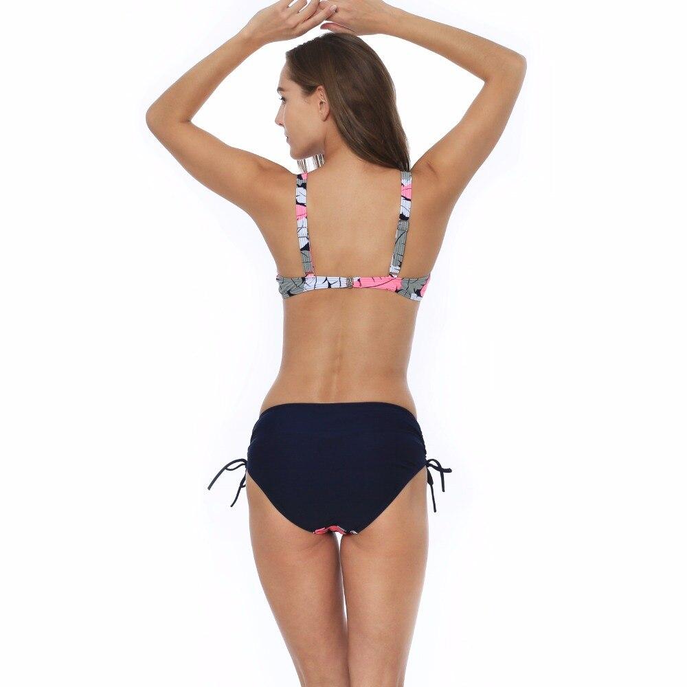 Polovi Sexy Feather Plus Size Swimwear Women Push Up Swimsuit Large Size Striped Mid Waist Bikinis De Las Mujeres 2019 Beachwear