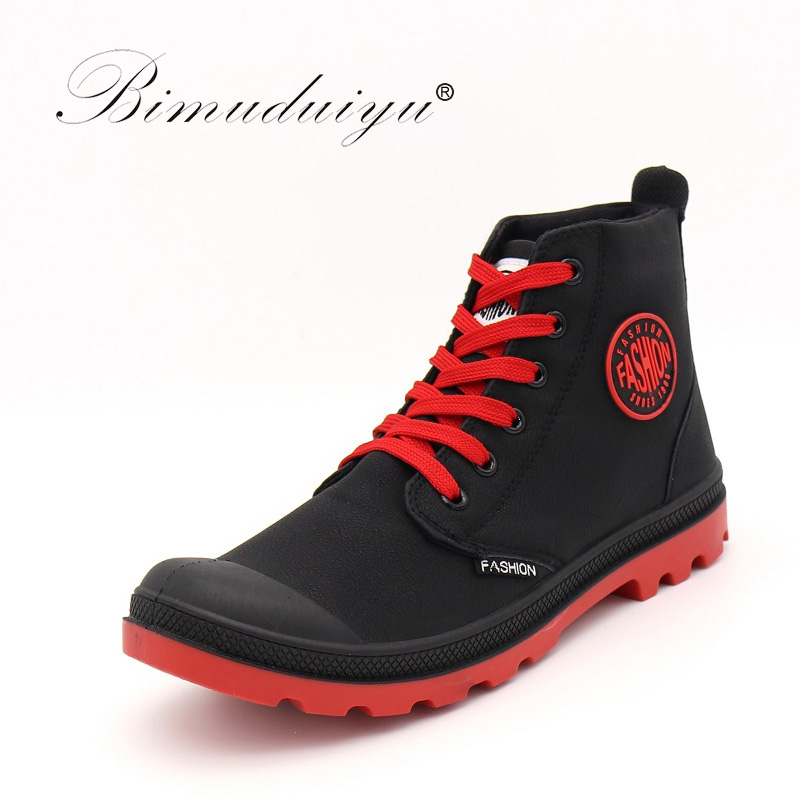 Corte Para Primavera Los Zapatos Red Ocio Black Microfibra khaki black Bimuduiyu And Casual Alta Nieve Otoño Cuero black La Moda Botas De Hombres Impermeables White fqwaxP4