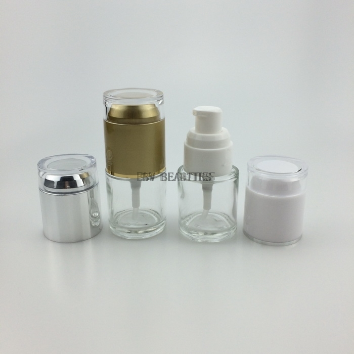 100pcs/lot 20ml Clear Glass Bottle With Acrylic Lid. Lotion/Essetial Oil/Moisturizer/Facial Water Cosmetic Containers