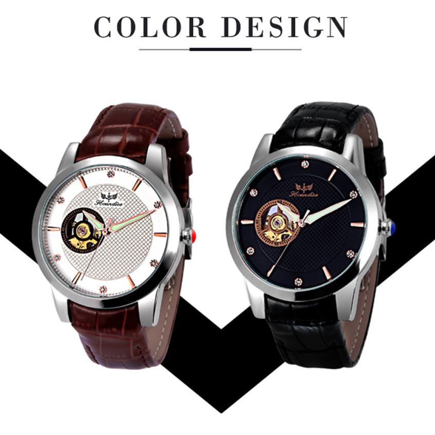 Dignity font b Men s b font Fashion PU Leather Band Mechanical Watch Wrist Watches JUN