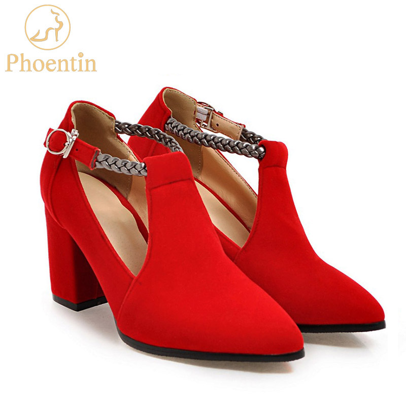 Фото Phoentin ankle buckle strap sexy high heels square heel pointed toe concise red velvet shoes narrow band women shoes pumps FT199