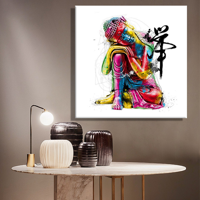 Framelessoil Paintings Canvas Colorful Buddha Sitting Wall