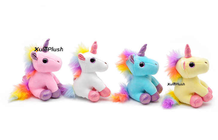 4Colors , 9-11CM Sweet horse Plush Stuffed Toy ; Key Chain animal horse plush toys doll