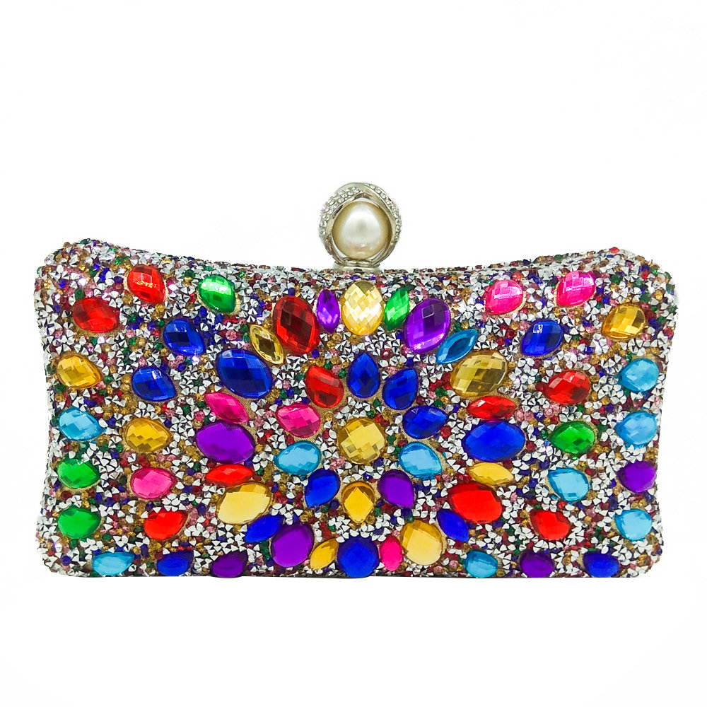 3737617644 BIG SALE] Double Flower Multicolored Crystal Women Evening Bags ...