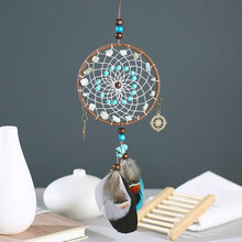 Handmade Dreamcatcher with Feather Wedding & Bar Home Wall Hanging Pendant Decor Wind Chimes Ornament Girl Room Decoration