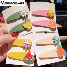 2PCS/lot New Color Fruit Hairpin Lovely Watermelon Flower Hair Clips Fashion Hairgrip Barrettes Bangs Clip Girl Accessories