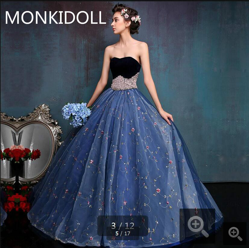Ball Gown Blue Lace Wedding Dresses 2017 Velvet Pearls