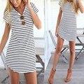 New Striped Women Casual Short Dress Short Sleeve Slim Cotton Party Mini Beach Dresses