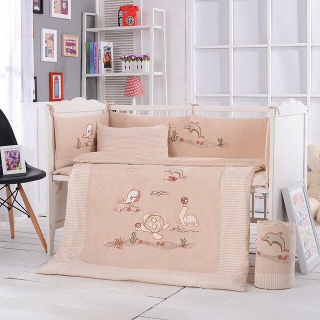 10 Pcs/sets Baby Bedding Set 120x60cm Cotton Animal Cartoon Embroider Bedding Set Include Pillow Bumpers Mattress Quilt