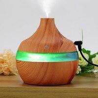 Grão de madeira ultra sônico difusor umidade fria aroma umidificador elétrico ambientador com 7 cores em mudança luzes da noite para casa|Umidificadores| |  -