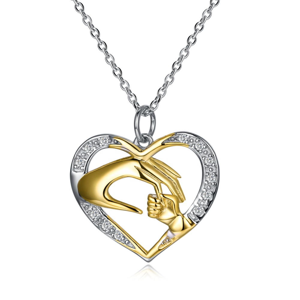 TK02 925 Sterling Silver Heart and hand gold plated Pendant Necklace for women jewelry