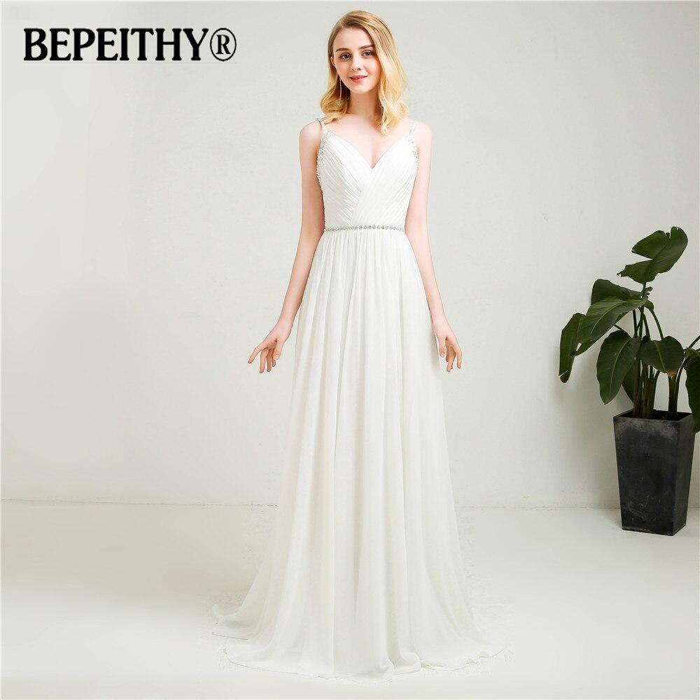 2020 Vestido De Novia V-Neck Chiffon Wedding Dresses With Crystal Belt Custom Made Beach Simple Bridal Dresses