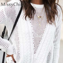 MissyChilli blanco transparente malla sexy jumper mujeres knitting loose  invierno partido otoño pullover Crochet club ahueca 38c787f48a3e