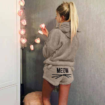 Free Shipping Women Pajamas Sets 2018 Autumn Winter Flannel Pijama Warm Pyjamas Homewear Nightwear Sleepwear Cat Female Pajama
