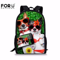 FORUDESIGNS Cute Animal Dog Cat Printing School Bag For Girls 12 Years Casual Children Book Bags