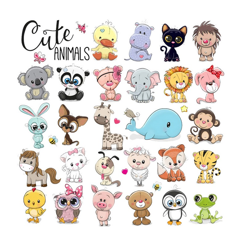 Cartoon Cute Animals Iron On Transfers For Clothing Fabric Baby Kids Applique Badge Hot Vinyl Heat Transfer Stickers Easy Press Patches Aliexpress