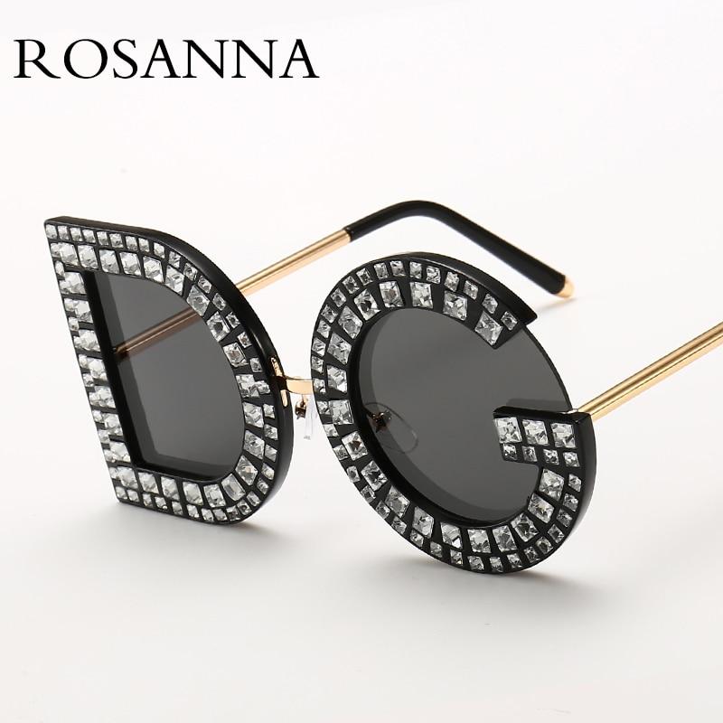 ROSANNA 2018 nuevo diamante Oversized ronda gafas de sol mujer de lujo de marca de cristal sol aleación rosa claro DG gafas
